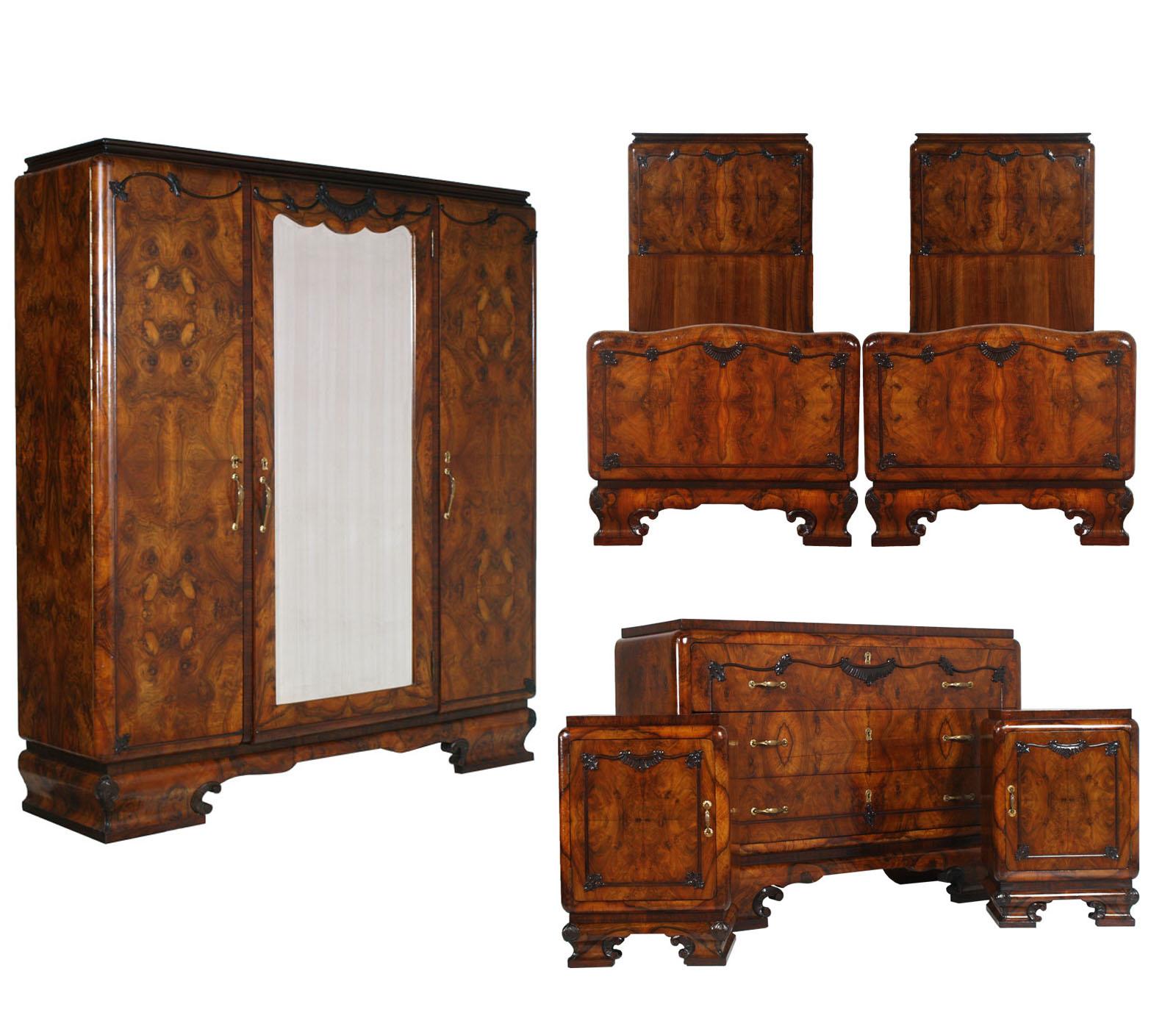 1930s antique art deco bedroom burl walnut camera da letto radica noce ma h73 ebay - Camera da letto in noce ...