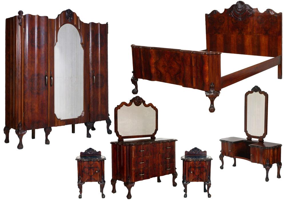 Master bedroom complete baroque walnut burl chippendale bedroom but m23 ebay - Testate letto matrimoniale ...