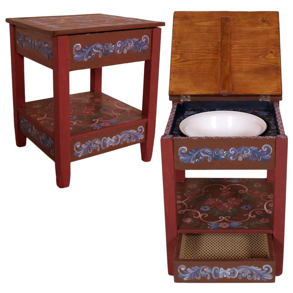 Armadi Tirolesi Dipinti dettagli su antico comodino tavolino toilette tirolese decorato dipinto  primi '900 - ma m83