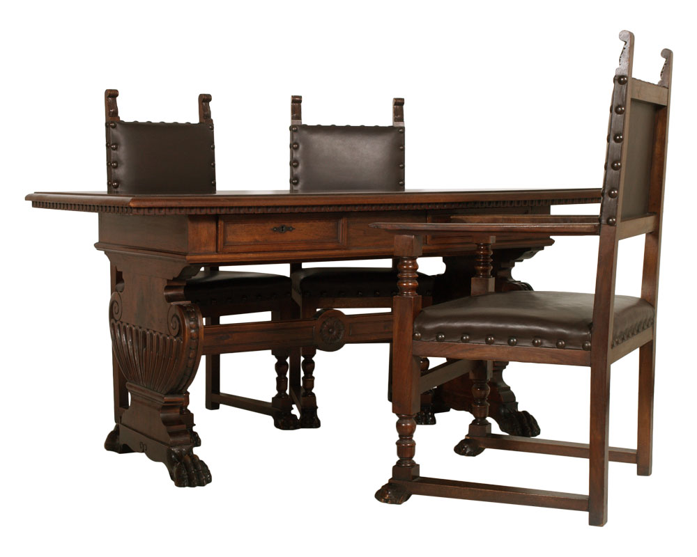 Arredamento Scrivania Antica : Antico studio ufficio rinascimento scrittoio scrivania con sedie