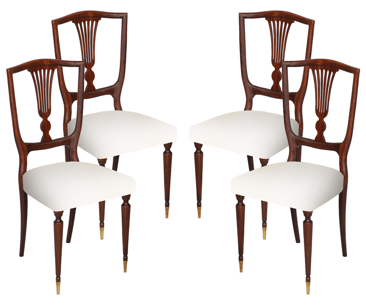 Sedie Stile Chippendale : Antique set 4 sedie stile direttorio noce 1950s chairs mid century
