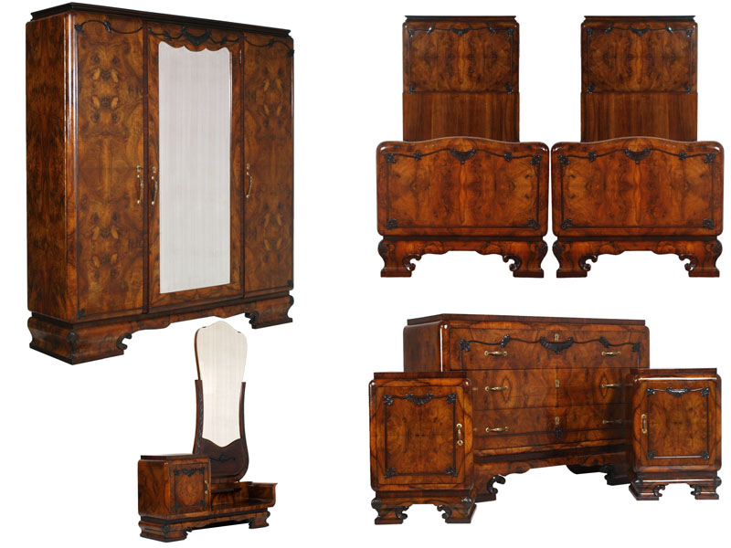 Antique Art Deco furniture set 1930s Italian bedroom - MAH73 ...