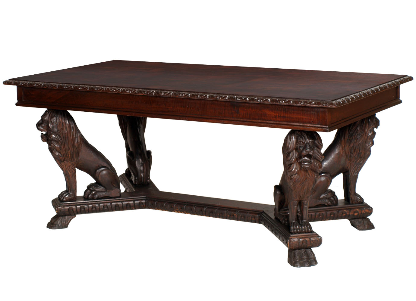 antique-renaissance-table-carved-walnut-lion-MAG42-1