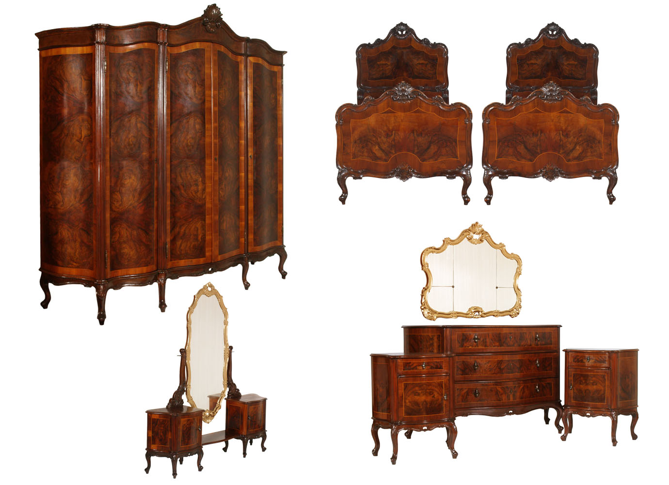 Antique Bedroom Sets Baroque Chippendale 1940s